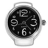 Quartz Finger Ring Watch, Stainless Steel Round Analog Ring Watch for Men Women(Black)