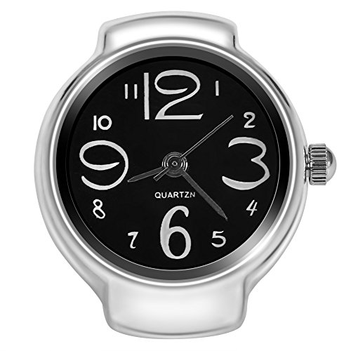 Dilwe Ring-Armbanduhr, 8 Farben, modisch, für Damen und Herren, Quarz, analog, runder Fingerring, Damen Herren, Schwarz