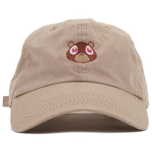 Jojoshine Bear Embroidered Washed Cap Unisex Cotton Cap Adjustable Plain Hat Khaki