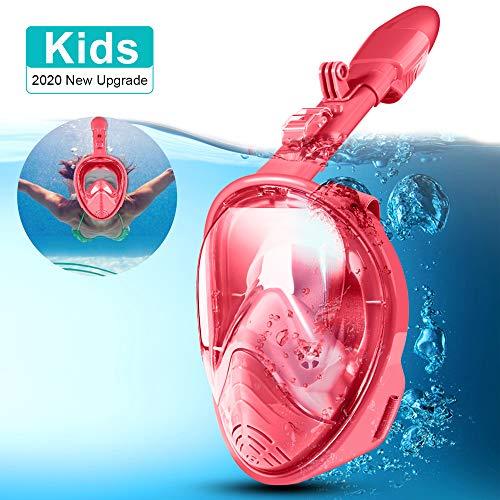 LALAYA Vollgesichts-Schnorchelmaske 180 ° Meerblick Leichtatmbare Schnorchelmasken für Kinder Anti-Fog Anti-Leak-Sicherheitstauchen mit Abnehmbarer Action-Kamerahalterung (Rosa)