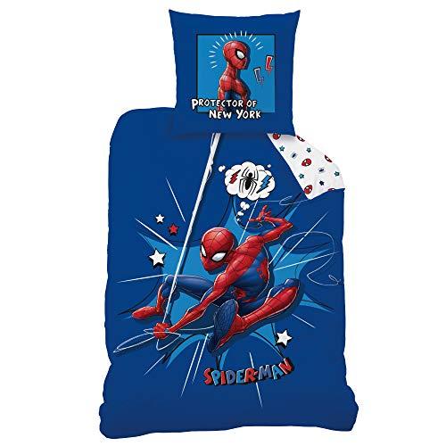 CTI Spiderman Bettwäsche Bettbezug 135x200 Baumwolle · Marvel Kinderbettwäsche für Jungen · 2 teilig · 1 Kissenbezug 80x80 + 1 Bettbezug 135x200 cm