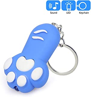 JMcall Cute Cartoon Little Feet Keychain With LED Light And Sound Keyfob Kids Toy Gift(Color:Blue & Material:)