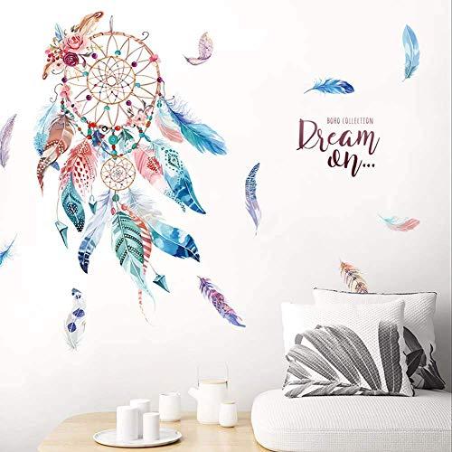 Wandsticker Traumfänger Farbige Feder Wandtattoo Wohnzimmerschlafzimmer Tapete Selbstklebende Esszimmer Wanddeko