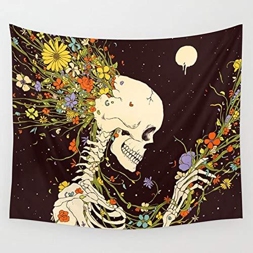 Rey Calavera Meditando en Flores Tapiz de Luna Mandala Alfombra Hippie Adivinación Cráneo Negro Brujería Manta para Colgar en la Pared A1 73x95cm