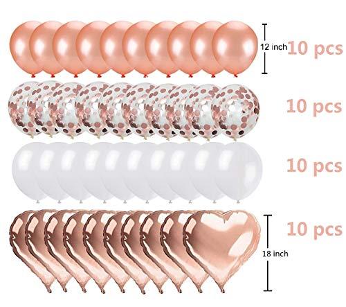 Ohighing 40 Stück Luftballons Rose Gold Konfetti Helium Ballons18-Zoll-Roségold-Herzballons für Hochzeit Mädchen Kinder Geburtstag Party Deko (Rosegold + Weiß)