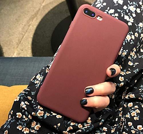 ZFLL Telefoonhoes voor iPhone 6s Plus 6 7 8 5 5s SE voor iPhone XS Max X XR Cover van TPU eenvoudige solide for 7Plus 8Plus Rode Wijn
