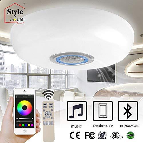 Style home LED RGB Deckenleuchte Deckenlampe mit Bluetooth Lautsprecher voll dimmbar mit Fernbedienung & Software (BT02-60-Blau)