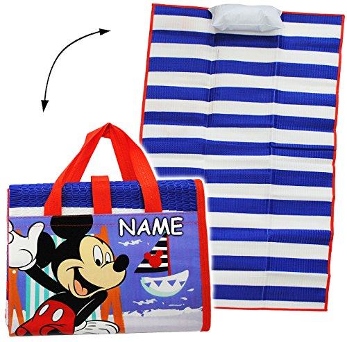 alles-meine.de GmbH gepolsterte _ Strandmatte / Strandunterlage -  Disney - Mickey Mouse  - incl. Name - 75 cm * 150 cm - incl. aufblasbares Kissen - wasserfest & faltbar - als..