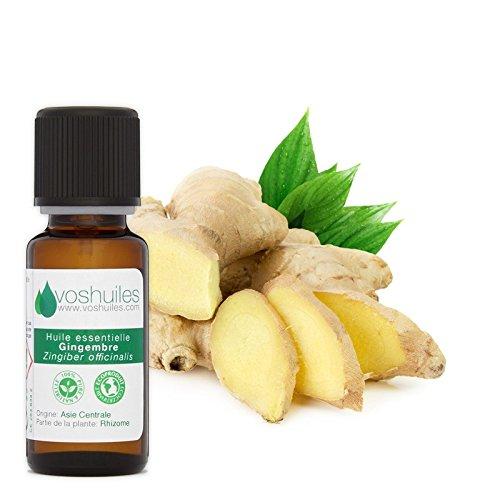 Huile Essentielle de Gingembre - 100% Pure et Naturelle - HEBBD - Energisante - Pour Digestion et Bien-être - Diluer dans une Huile Végétale - Parfum Frais et Épicé - 10 ml