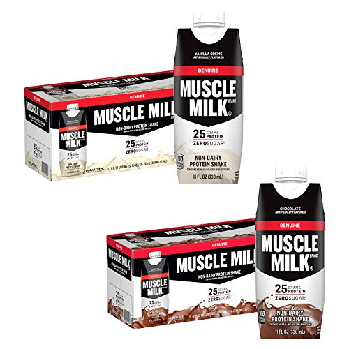 Muscle Milk Protein Shake Bundle Pack, Chocolate & Vanilla, 25g Protein, 11oz Cartons (24 Pack)