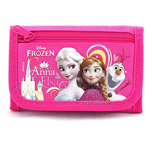 Disney Frozen Elsa Anna and Olaf Character Hot Pink Trifold Wallet