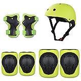 Kaiyei Niños Protecciones Skateboard, Casco & Rodilleras & Muñequera & Coderas 7 Piezas Conjuntos, Proteccion Kit para Deporte Bici Patines Ciclismo Skate Scooter Verde S