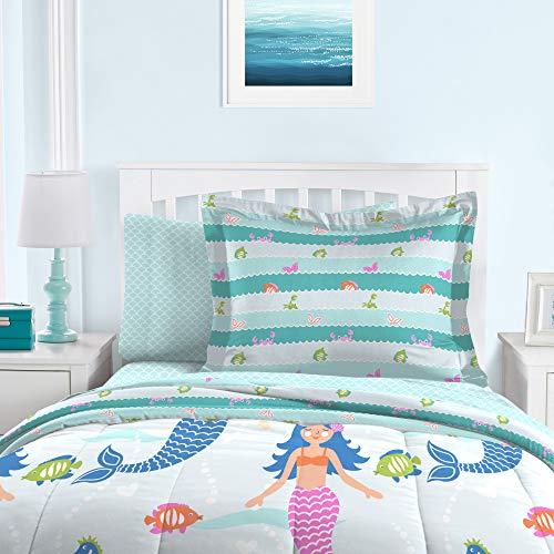 dream FACTORY Mermaid Dreams Comforter Set, Full, Light Blue