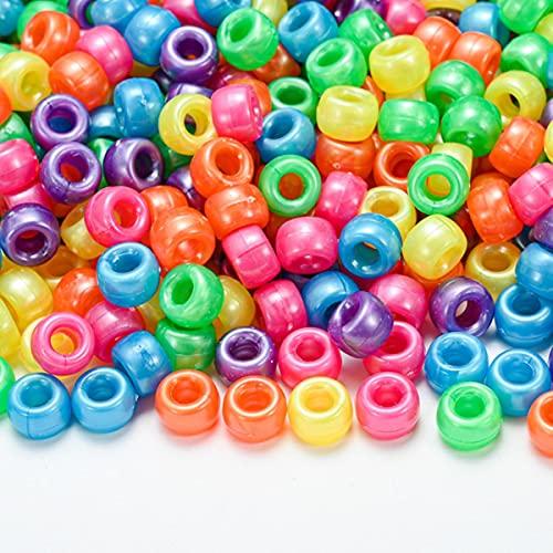 100-300pcs / lot 6 * 9mm Perlas de acrílico de gran agujero transparente Perlas espaciadoras coloridas para hacer joyas DIY Niños Niños Collar Pulsera-1,300pcs