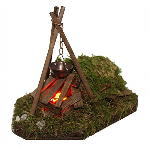 Kochstelle Dreibein Flackerlicht mit Kessel Krippenzubehör für Krippe Weihnachtskrippe Krippenstall