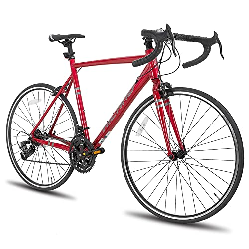 Hiland Road Bike 700c Racing Bike Aluminum City Commuter Bicycle with 21 Speeds Red 53CM