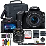 Canon EOS 250D / Rebel SL3 DSLR Camera with 18-55mm Lens (Black) + Creative Filter Set, EOS Camera Bag + Sandisk Ultra 64GB Card + 6AVE Electronics Cleaning Set, and More (International Model)