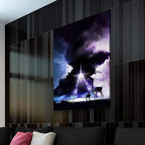wZUN Póster de Imagen nórdica Negro mecánico alienígena decoración Pintura Arte sobre Lienzo para decoración del hogar decoración de Pared 50x70 cm