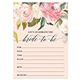 DB Party Studio Pink Floral Bridal Shower Invitations with Envelopes ( 25 Count Value Pack ) Large 5x7' Fill in Engaged Couple Bride-to-Be Peach Flowers Bridesmaids Wedding Party Invites VI0039B