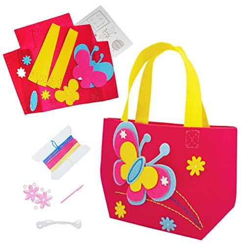 alles-meine.de GmbH Bastelset - Filz Tasche -  Schmetterlinge & Blumen  - zum Sticken, einfaches Nähen per Hand - Filztasche - Komplettset filzen - Creativ - Filzset zum Bastel..