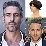 Lishy Men's Toupee Soft Thin Skin 0.06mm PU 10x8inch Hair Replacement for Men's Hairpiece 100% European Human Hair Pieces for Man1B Black Color Mixed 20% Grey Hair