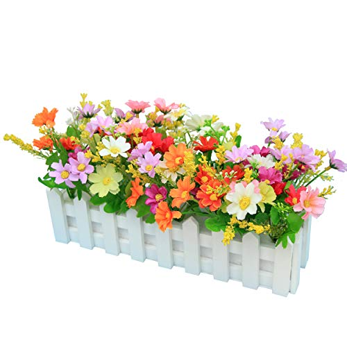 Flikool Künstliche Pflanze mit Zaun Topfpflanzen Künstliche Blumen Chrysantheme Fälschung Potted Bonsai Handwerk Dekorationen Ornaments - Mix
