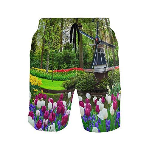 WowPrint - Pantalones cortos para hombre, diseño de tulipán holandés, de secado rápido, ligero, para gimnasio, entrenamiento, verano, playa, pantalones cortos
