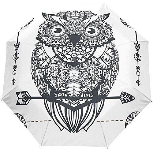 Weinlese-Böhme Eagle Owl Auto Open Close Sun Regen Regenschirm
