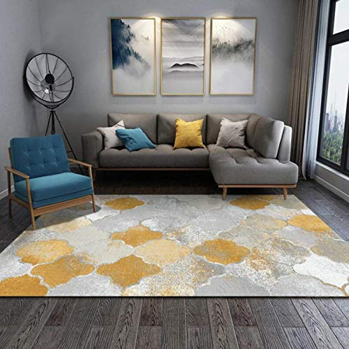 Alfombras felpudo de plata amarilla, 100 x 160 cm, alfombra contemporánea para sala de estar, superabsorbente de poliéster y látex ecológico en la parte posterior para antideslizante suave al tacto