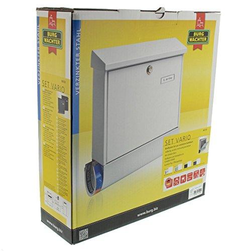 BURG-WÄCHTER Set Vario 86720 Si Briefkasten-Set mit Zeitungsbox A4 Einwurf-Format, Verzinkter Stahl, Set Vario Si, Silber - 6