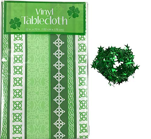 St. Patrick's Day Vinyl Tablecloth: Green White Shamrock Striped Celtic Irish Symbols Flannel Back Table Cover (52' x 90' Inch)