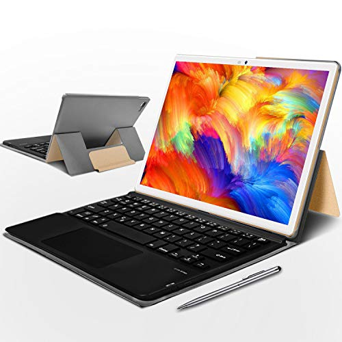 Tablet 10.1 Pulgadas 4gb ram 64gb ROM, Tablet con Teclado 128GB Escalables Tableta Android 9.0 Octa-Core, GPS, OTG, Netfilix, Certificación Google GMS Tablet Buenas 10 Pulgadas (Oro)