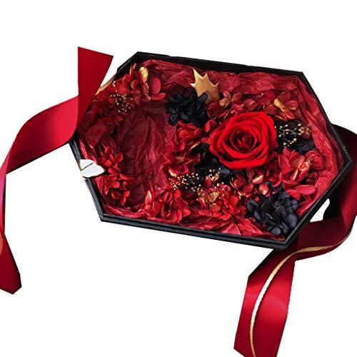 LZL Rosa preservada Exquisito hexágono conservado Flor Caja de Regalo conservada Real Aniversario Aniversario Novia Novio Festival Creatividad Regalo Rosa eterna (Color : Red)