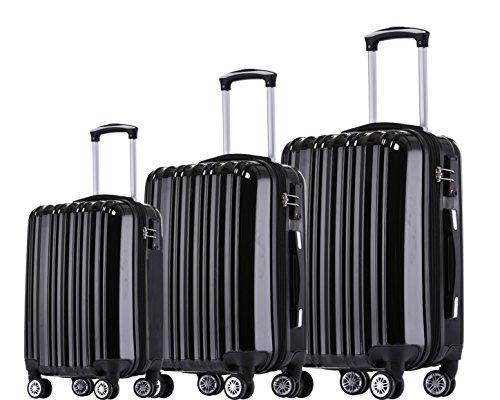 Münicase TSA-Schloß Koffer Reisekoffer Trolley Kofferset (Schwarz, 3tlg. Kofferset)