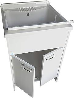 Meuble lavabo pour buanderie 60 x 60 x 88 cm, blanc avec planche de lavage