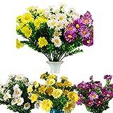 8 Pcs Flores Artificiales de Margaritas,36 x 16 cm,Blanco Amarillo púrpura ,arreglo Floral, Ramos de Boda,Plantas Artificiales Adecuado para El Hogar Oficina Decoración Jardín Balcón