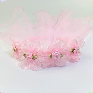 chenpaif Girls Wedding Agaric Mesh Veil Headband Glitter Powder Trim Artificial Flower Wreath Crown Hair Hoop First Communion Headband 5 Pink