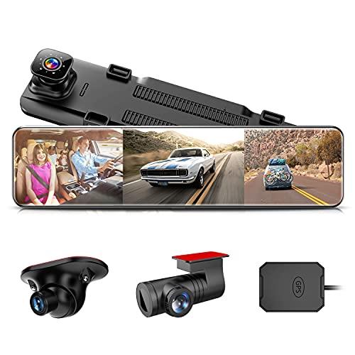 ドライブレコーダー ミラー型 3カメラ【2021年更新版-車内車外用サイドカメラ角度調整可能】前後カメラ 12インチ ドラレコ 3カメラ同時録画 タイムプラス録画 SONY STARVIS SONYセンサー スーパー暗視 IPSタッチパネル 車内車外用サイドカメラ付き 前後サイド同時録画表示 死角低減 貼り付け簡単 超ワイド12インチ大画面 前1080P後1080Pサイド1080P/720P HD 200万画素 GPS搭載追跡 HUDモード 音声コントロール 広角レンズ デジタルカメラ ミラー 日本全国LED信号機対応 リバース連動 地デジ干渉対策 ループ録画 衝撃感知録画 駐車感知録画 Gセンサー 32GBカード付属 日本語取扱説明書 12ヶ月安心保証 AKEEYO AKY-X3GTL-LT