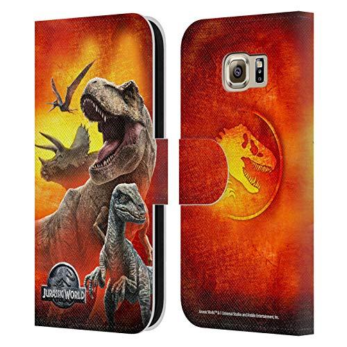 Head Case Designs Ufficiale Jurassic World Dinosauri Arte Chiave Cover in Pelle a Portafoglio Compatibile con Samsung Galaxy S6