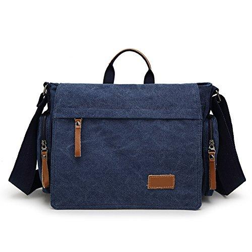 MiCoolker Canvas Crossbody Laptop Messenger bag for Men Over the Shoulder Travel Purse Vintage Handbag Briefcase Outdoor Sports Satchel Bags Blue