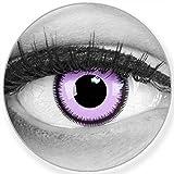 Funnylens Farbige lila violet Kontaktlinsen Purple Lunatic - weich ohne Stärke 2er Pack + gratis Behälter – 12 Monatslinsen - perfekt zu Halloween Karneval Fasching oder Fasnacht