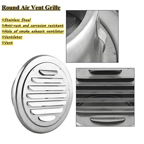 Muur ventilatieopening, RVS muur ventilatiegleuf rond plat rooster kanaalbeluchtingsafdekking-uitlaat insect in elkaar grijpen, voor ventilatieopeningen en afzuigkappen, airconditioning