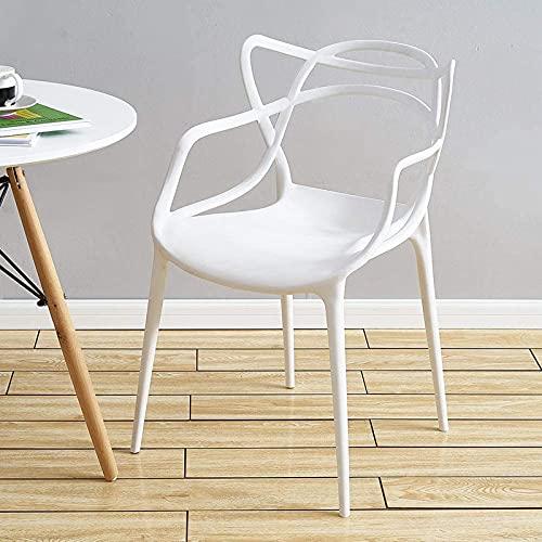 WellingA Juego sillas Comedor Modernas de 4 Piezas Silla jardín al Aire Libre, Silla Patio, sillón Oficina, apilable,Negro
