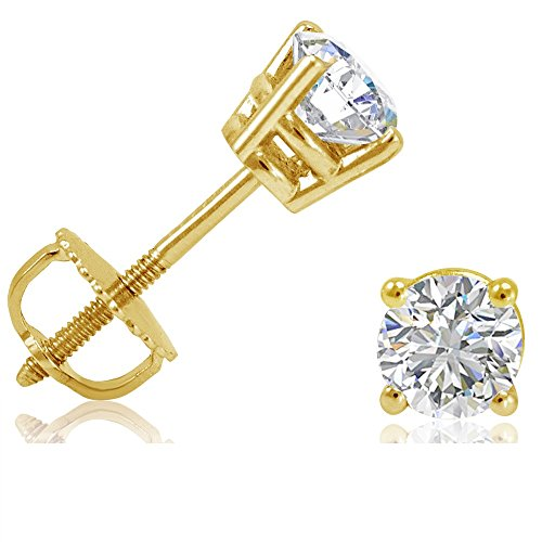 AGS Certified (G/H Color) 1/2ct tw Round Diamond Solitaire Stud Earrings in 14K White Gold