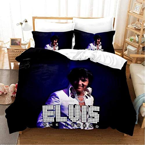Nat999Lily Duvet Cover 3D Elvis Presley Bedding Set Soft Duvet Cover King Queen Twin Full Comforter Bed Set Pillowcases Bedclothes Home Textile 200x200cm
