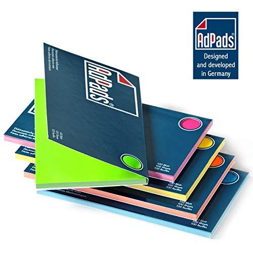 AdPads® elektrostatisch selbstklebende Moderationskarten | 175 x 100mm, 500 Blatt, Set Bunt | Große Static Sticky Notes | Beweglich und verschiebbar auf jeder Oberfläche
