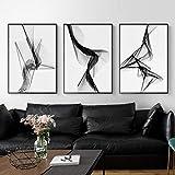 Línea abstracta en blanco y negro decoración de la sala de estar pintura moderna línea de fantasía minimalista mural geométrico fondo nórdico 40x50cm (16x20in) x3 sin marco