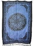 Sarong Pareo Keltisches Blumen Mandala blau/große Auswahl schönste Farben/Wickelrock Strandtuch Sauna-Tuch Wickelkleid Schal Wickeltuch Bademode Freizeitmode Sommermode/aus 100% Viskose