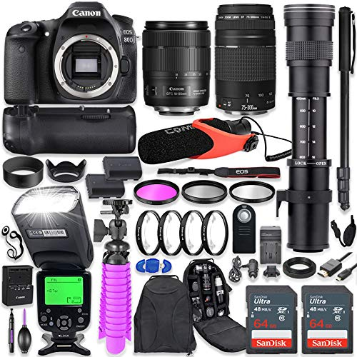Canon EOS 80D DSLR Camera Kit with Canon 18-135mm & 75-300mm Lenses + 420-800mm Telephoto Zoom Lens + Battery Grip + TTL Flash (Upto 180 Ft) + Comica Microphone + 128GB Memory + Accessory Bundle