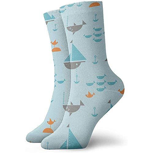Damen Herren Crew Socken Kissen Segelboote mit Ankern Haie Fisch und Möwen Athletic Hiking Trekking Socken 30cm